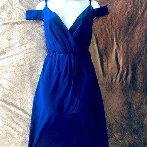 Royal Blue Cold Shoulder Tulip Hem Dress Large